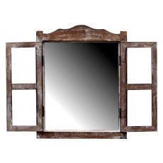 Kleines Spiegelfenster Badspiegel Fensterläden Holz Landhaus Stil Braun