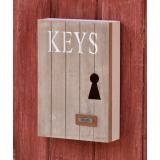 Schlüsselkasten Schlüsselschrank Holz mit 6 Haken Natur HOME Schild