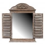 Spiegelfenster gewölbt mit Sprossenläden Shabby Chic Holz Braun